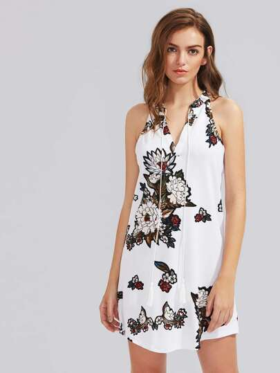 Halterneck Floral Print Sleeveless Dress