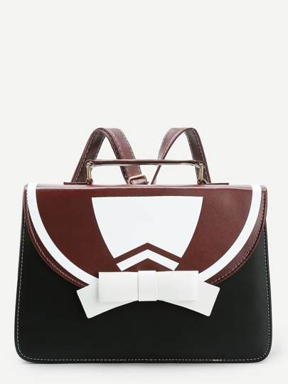 Bow Tie Design PU Backpack
