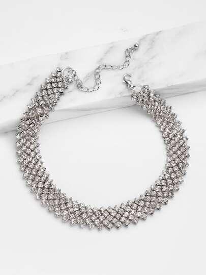 Модное ожерелье со стразами