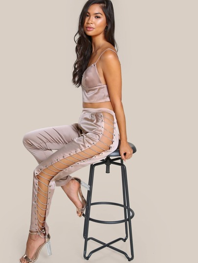 Ladder Chained Satin Pants