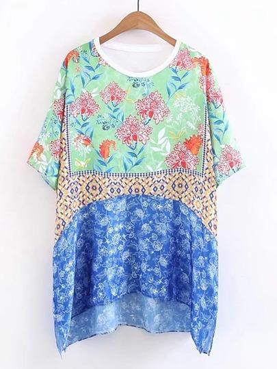 T-shirt asimmetrico con stampa floreale