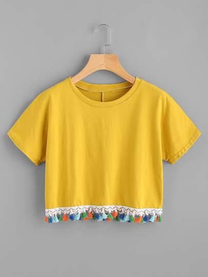 Tee-shirt contrasté avec des franges