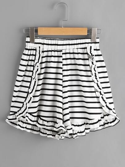 Shorts mit Falten und Streifen