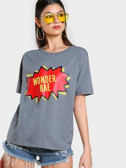 Heather Knit Cuffed Sleeve Graphic Tee