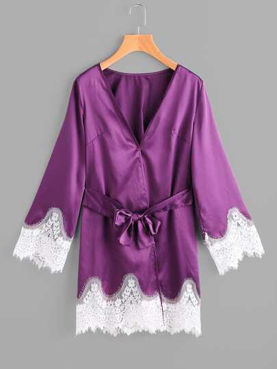 Lace Trim Surplice Nightdress With Belt