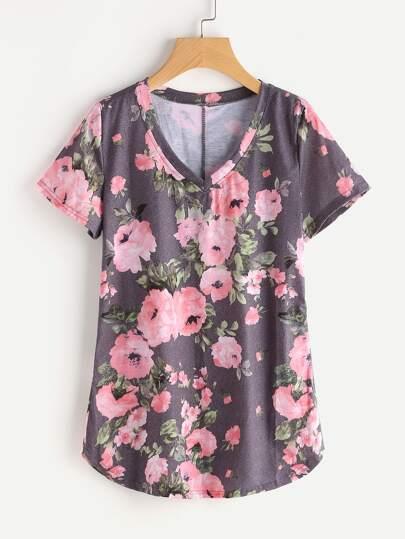 Tee-shirt col en V imprimé fleuri