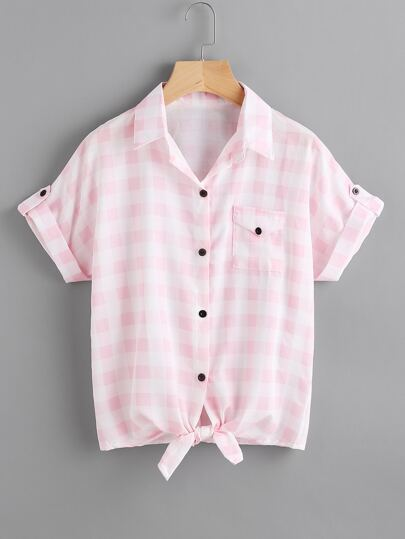 Checkered Knotted Hem Cuffed Shirt With Chest Pocket