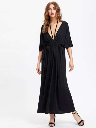 Double Plunging Kaftan Dress With Strap Detail