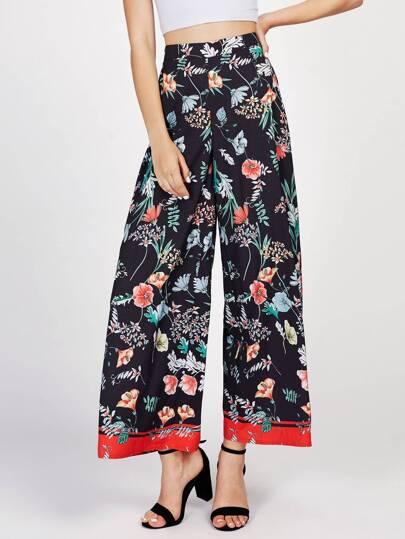 Pantalones con estampado y ribete en contraste