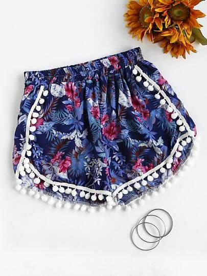 Shorts fruncido con estampado floral con bolitas