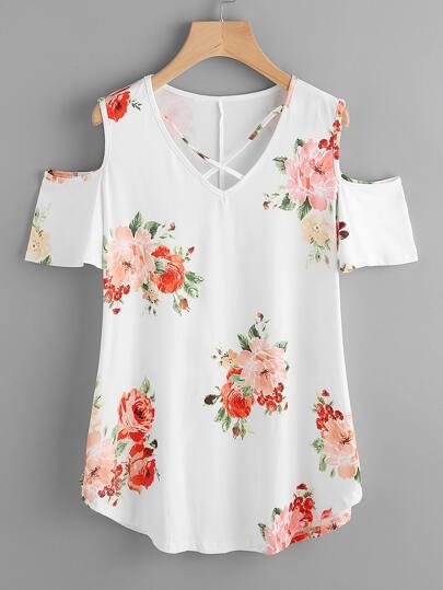 T-shirt floreale con scollo a v e spalle scoperte