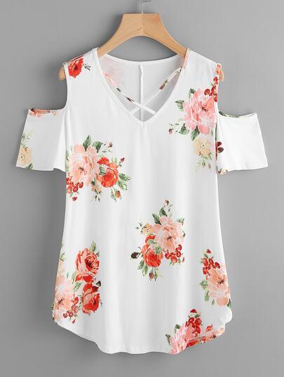 Crisscross V-neckline Open Shoulder Random Florals Tee
