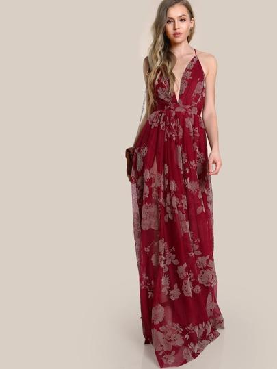Spaghetti Strap Floral Print Maxi Gown WINE