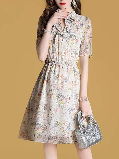 Bowknot Neck Elastic-Waist Hollow Floral Dress