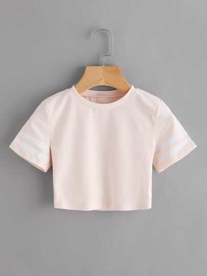 Camiseta corta de rayas verticales