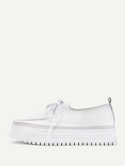 Almond Toe Lace Up PU Shoes