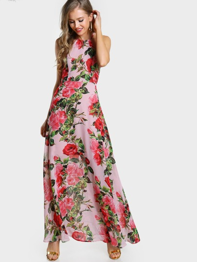 Flower Print Racer Halter Neck Open Back Maxi Dress