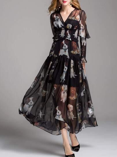 V Neck Dogs Print Elastic-Waist Dress