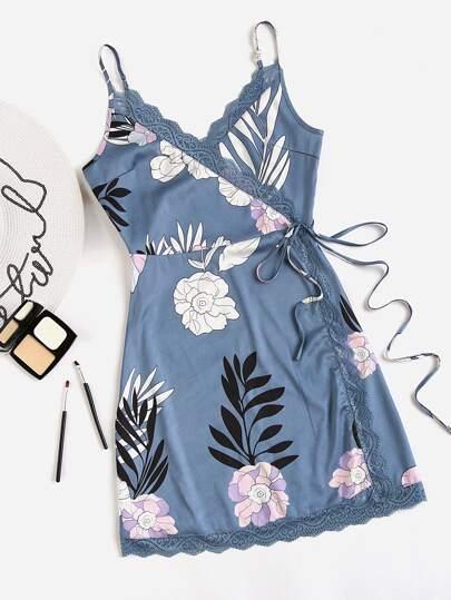 Flower Print Lace Trim Surplice Wrap Slip Dress