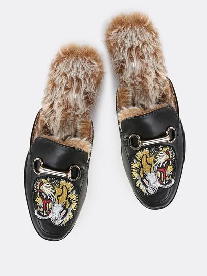 Embroidered Tiger Fur Loafer Slides BLACK