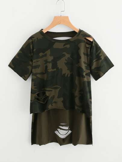 Ripped Slit Side High Low Camo Tee