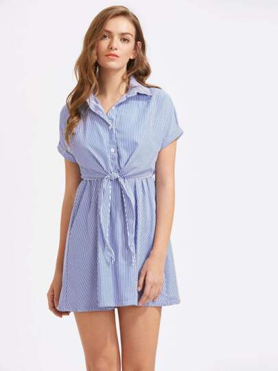 Vertical Striped Rolled Sleeve Tie Detail Shirt Dress