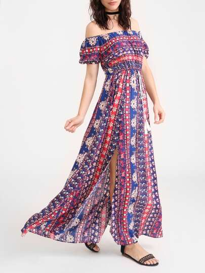 Ornate Print Tasseled Drawstring Waist M Slit Dress