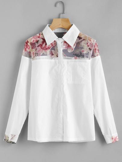 Camicia contrasto a rete,con stampa di rosa