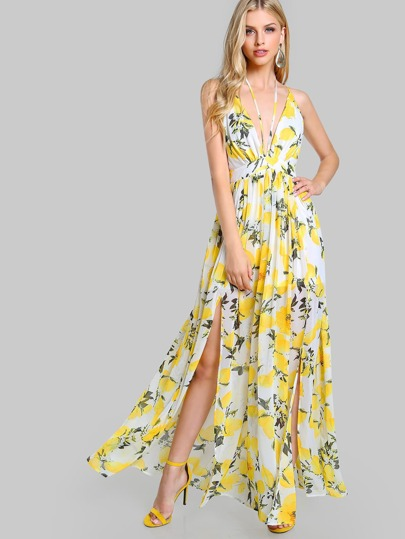 Vestito con scollo profondo e stampa di ananas