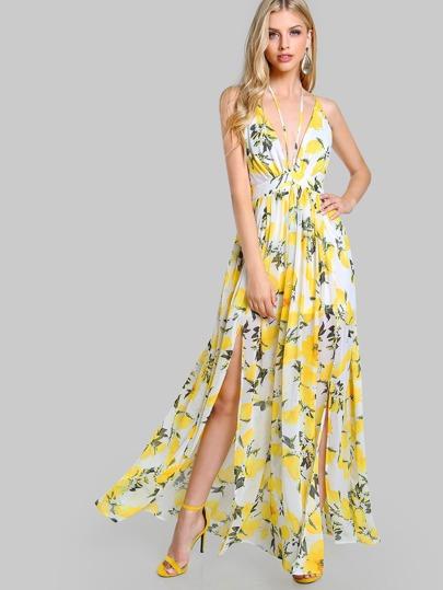 Plunging Crisscross Back M-Slit Dress