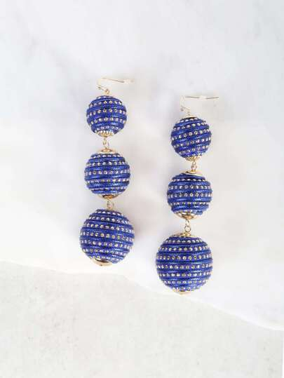Oversized 3 Tier Bon Bon Earrings BLUE