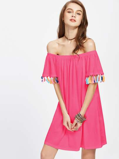 Off Shoulder Tassel Trim Dress