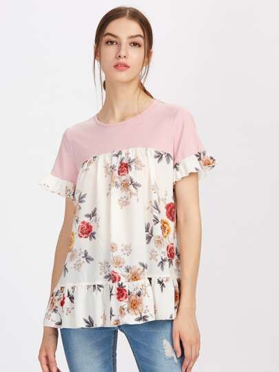 Mixed Medial Frill Detail Top