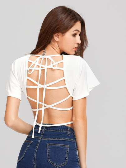 Lace Up Open Back Crop Tee