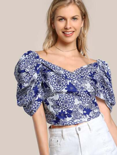 Off Shoulder Puff Sleeve Zip Up Shirt WHITE NAVY