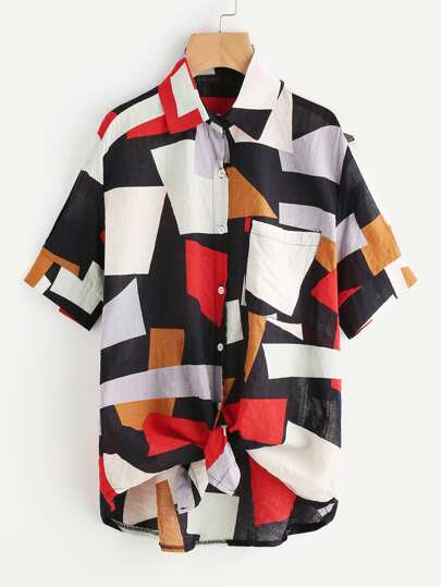 Patchwork Knotted Hem Shirt