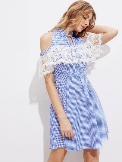 Tie Neck Open Shoulder Lace Ruffle Trim Gingham Dress