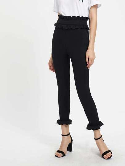 Pantalones con ribete de volantes y cremallera en la parte lateral