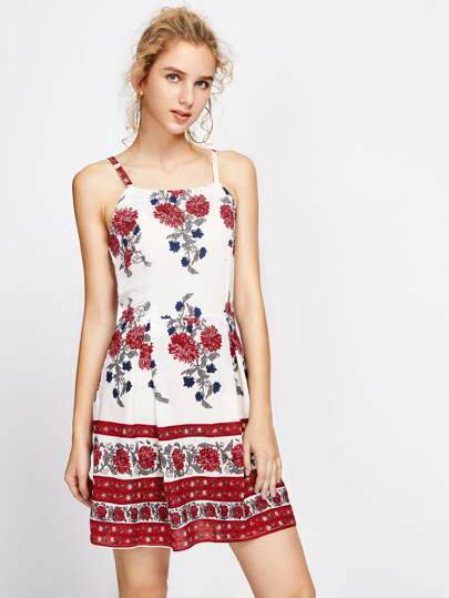 Floral Print Above-Knee Hemlines Cami Dress