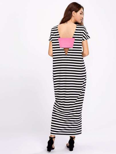 Patch Plunge V Back Cocoon Tee Dress