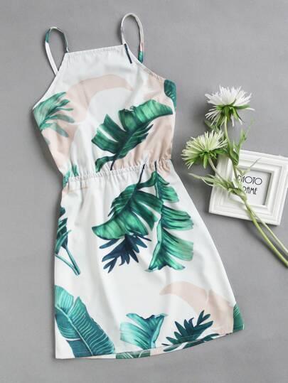 Cami Kleid mit Blättermuster,Schleife und Rückenfrei