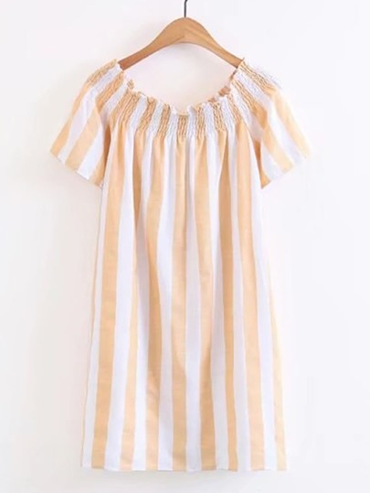 Boat Neckline Vertical Striped Shirred Dress