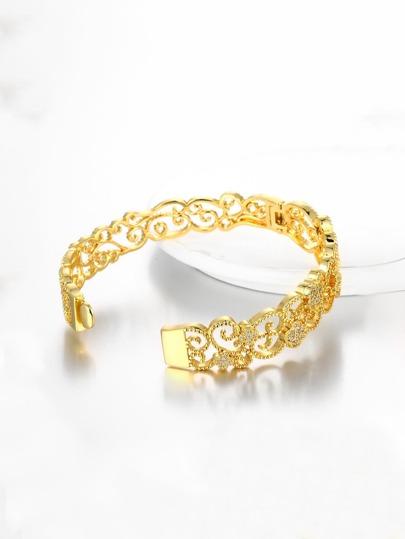 Rhinestone Detail Metal Cuff Bracelet