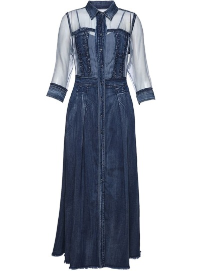 Lapel Sheer Sleeve Denim Dress