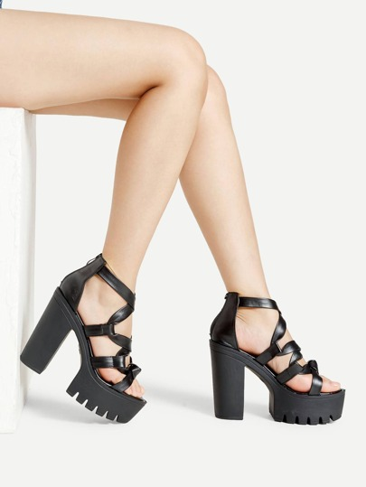Wrap Strap PU Platform Heeled Sandals