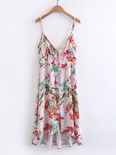 Floral Print High Low Cami Dress