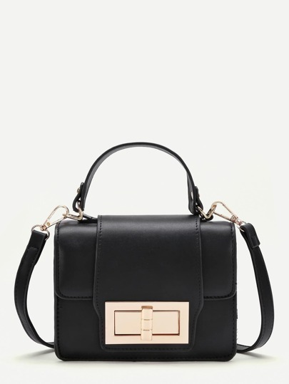 PU Twist Lock Shoulder Bag