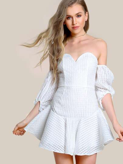 Bardot Sleeve Sweetheart Dress OFF WHITE