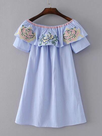 Boat Neckline Flower Embroidery Dress