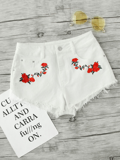 Rose Embroidered Raw Edge Shorts